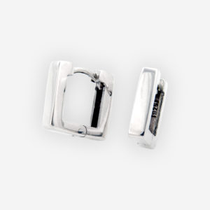 Medium square silver hoops are crafted 925 sterling silver with a huggie closure.