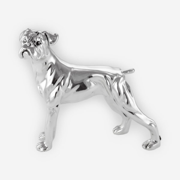 American Boxer Dog Silver Sculpture is crafted with electroforming techniques and dipped in silver .999