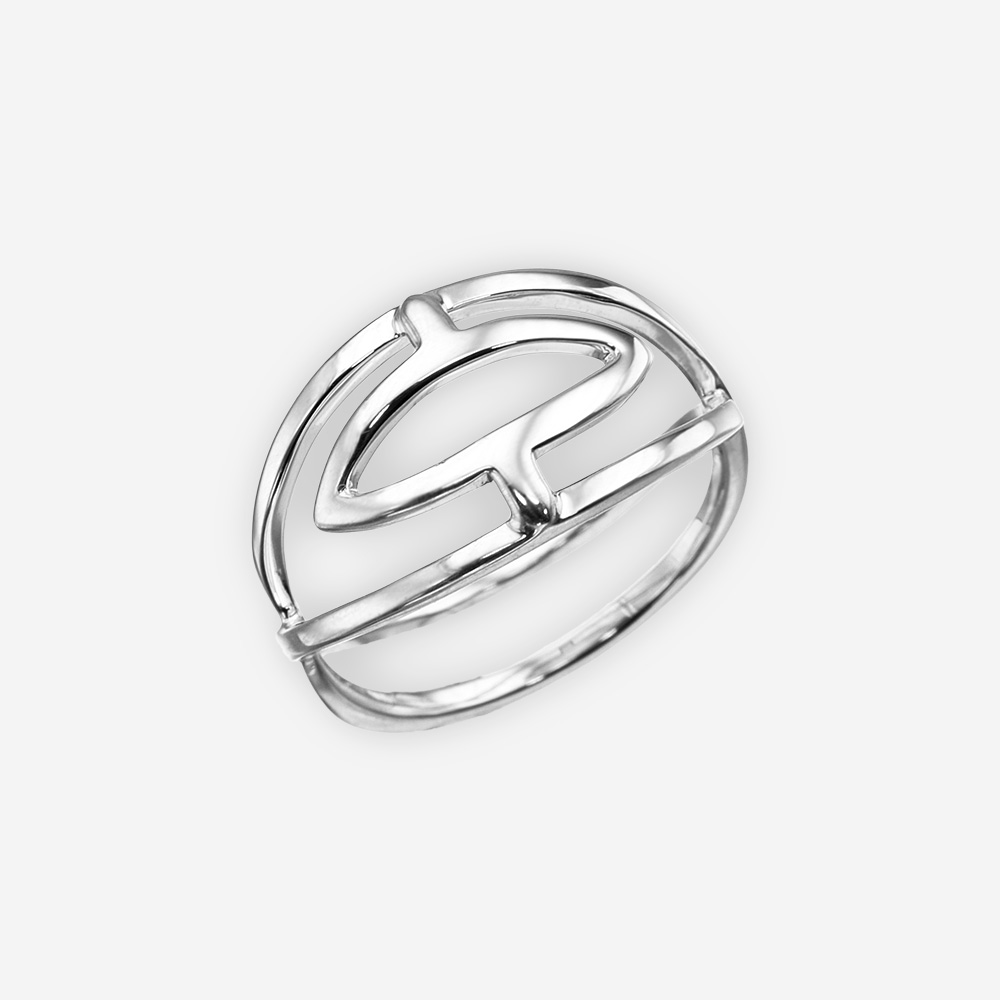 Minimalist polished silver ring crafted from 925 sterling silver.