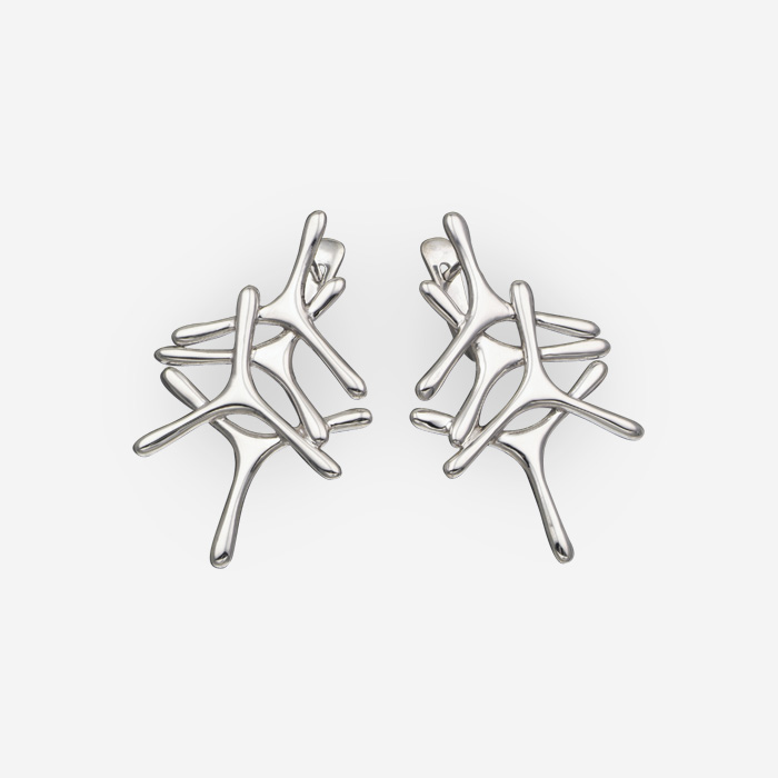 Medium size minimalist silver earrings with sterling silver abstract elemnts and latch back closures.