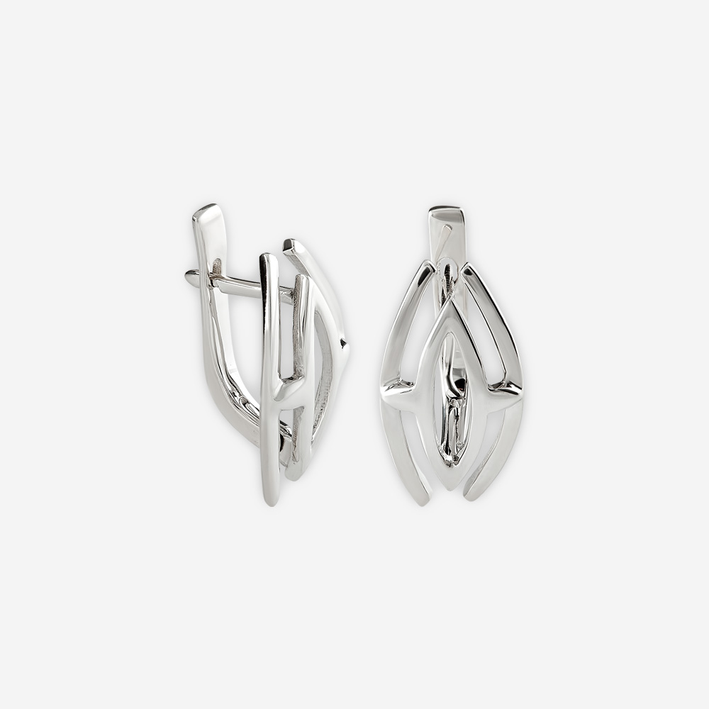 Minimalist sterling silver ellipse earrings with lever back closures.