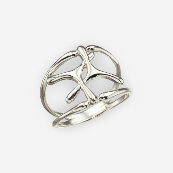 Minimalist sterling silver intertwined ring with a high polished finish.
