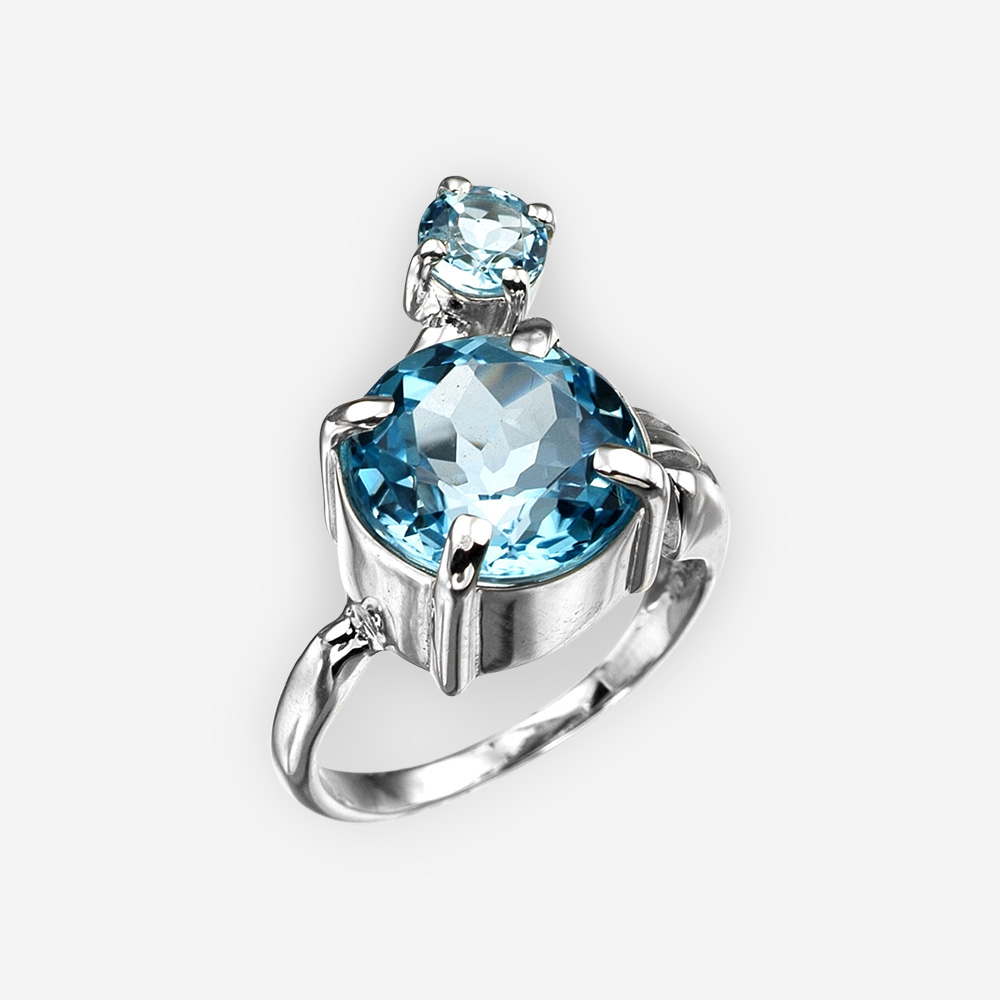Modern blue topaz silver ring.