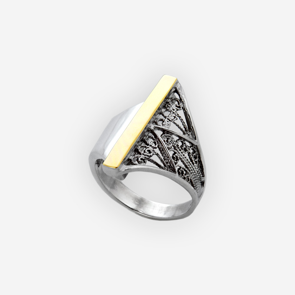 Modern filigree two-tone silver ring crafted in 925 sterling silver with 14k gold details.