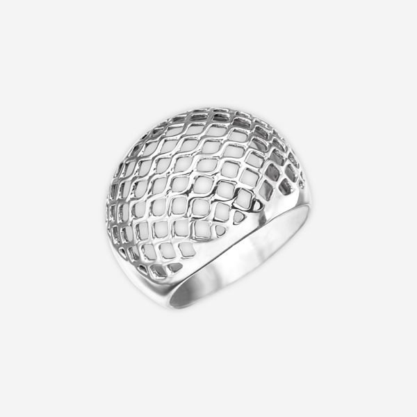 Modern silver cocktail ring featuring a domed mesh-like cut out design upper.