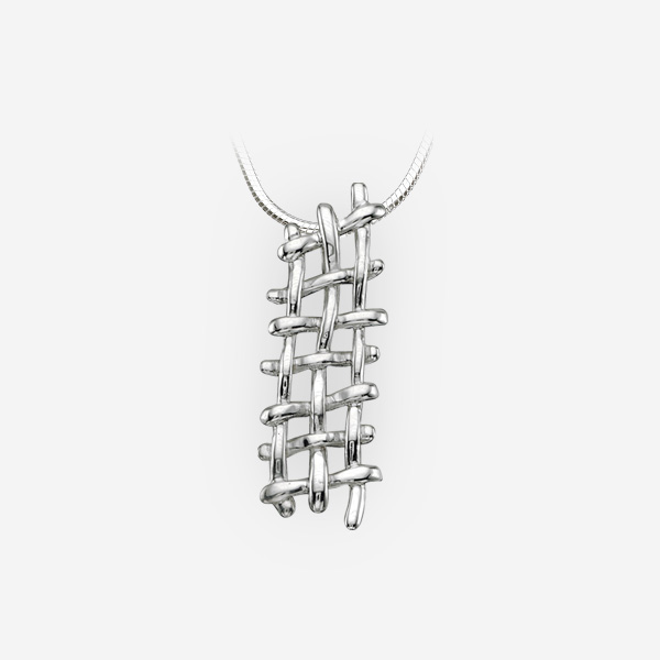 Modern silver woven rope pendant crafted from 925 sterling silver.