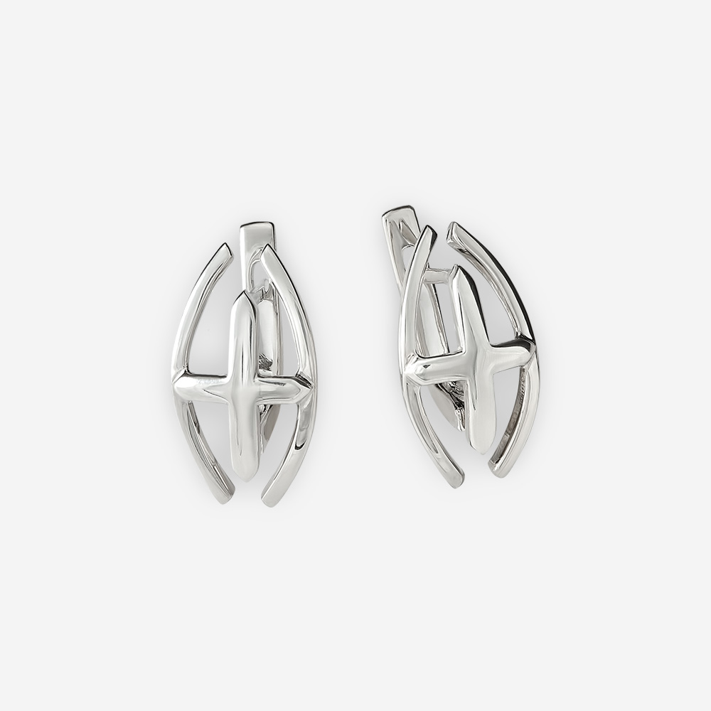 Modern sterling silver crossed lines earrings with lever back closures.