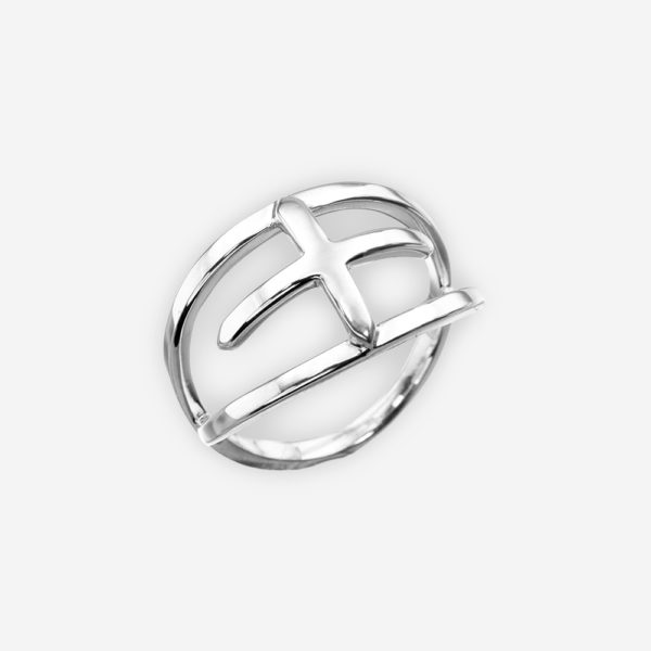 Modern sterling silver crossed lines ring with a high polished finish.