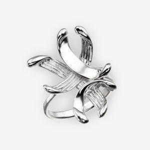 Modern sterling silver feather ring with a high polished finish.