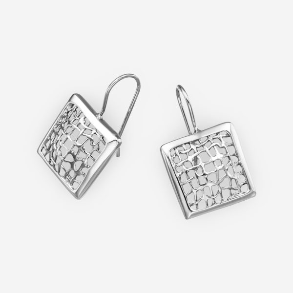 Modern sterling silver mesh design earrings crafted from 925 sterling silver and high polished finish.