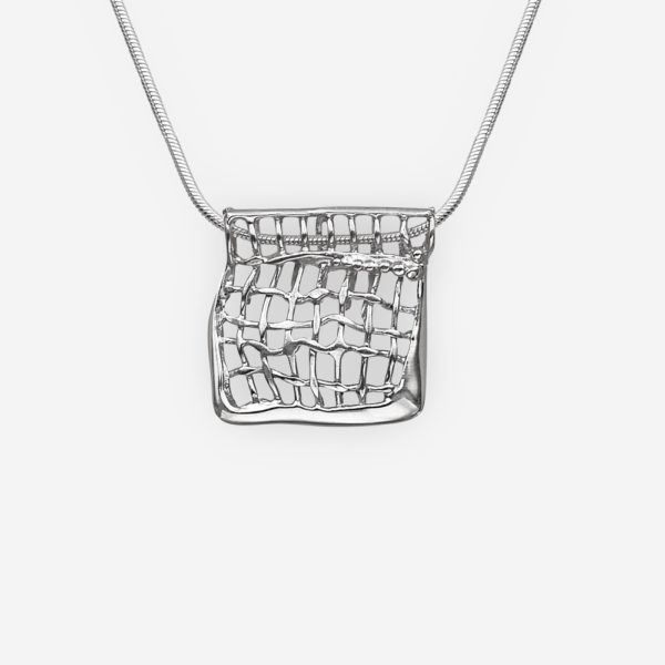 Modern sterling silver mesh design pendant crafted from polished 925 sterling silver.