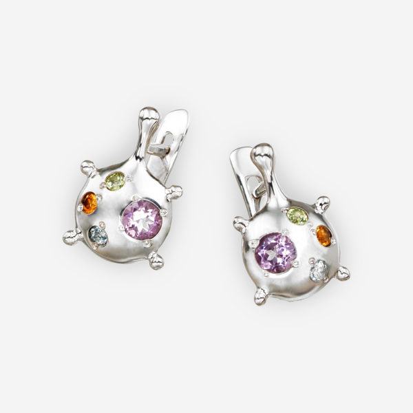 Multi-Gemstone abstract silver earrings with latch back closures.