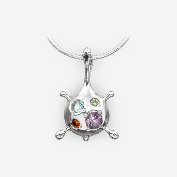 Multi-Gemstone Abstract Silver Pendant crafted from 925 sterling silver.