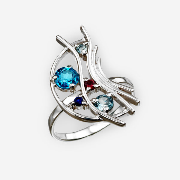 Multi-gemstone silver ring with abstract curves crafted from 925 sterling silver.