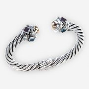Multi gemstone twisted cable silver cuff is crafted from 925 sterling silver, multi color diamond-shaped gemstones, and 14k gold ball ends.