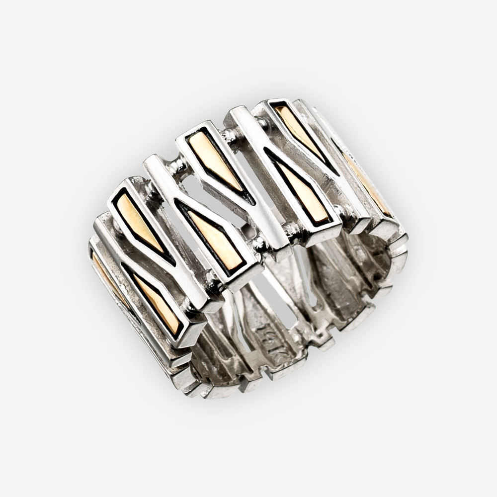A narrow geometric fragments silver ring crafted in 925 sterling silver with 14k gold accents.