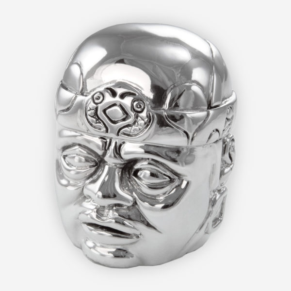 Olmec Colossal Head Silver Sculpture crafted with electroforming techniques and dipped in silver .999