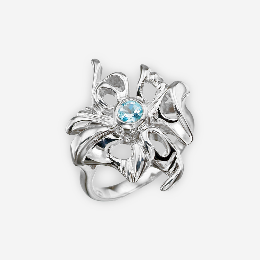 Anillo de plata en forma de flor con topacio hecho a mano de la plata fina .925.