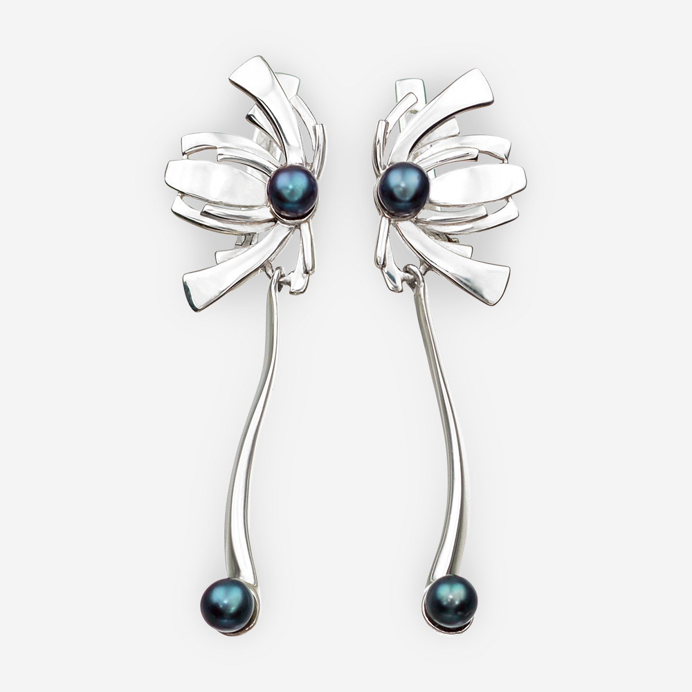 Oriental floral silver earrings with black pearl and silver drops and latch back closures.
