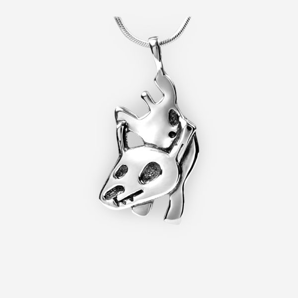 Oriental horoscope silver dog pendant crafted from 925 sterling silver.