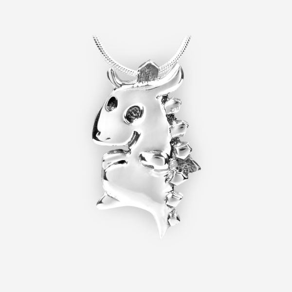 Oriental horoscope silver dragon pendant crafted in 925 sterling silver.