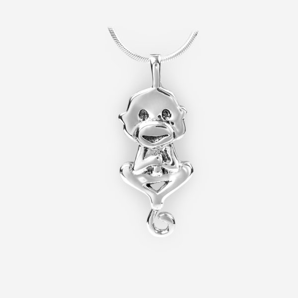 Oriental horoscope silver monkey pendant crafted in 925 sterling silver.