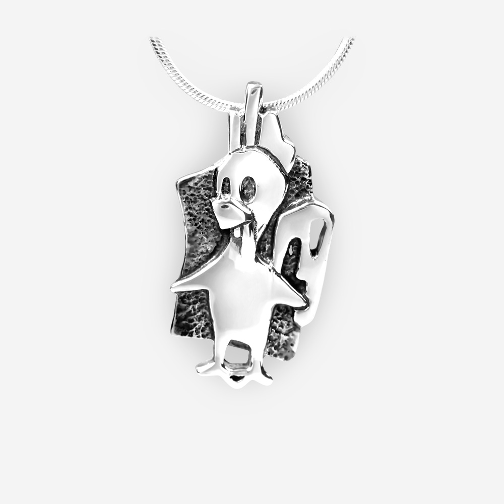 Oriental horoscope silver rooster pendant crafted in 925 sterling silver.