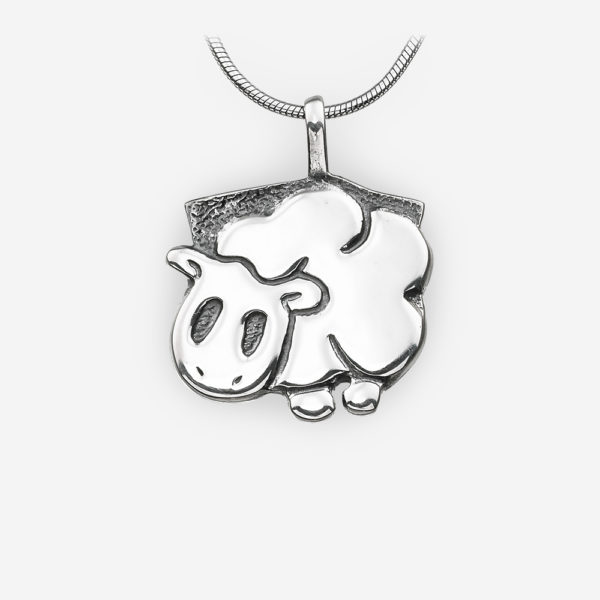 Oriental horoscope silver sheep pendant crafted in 925 sterling silver.