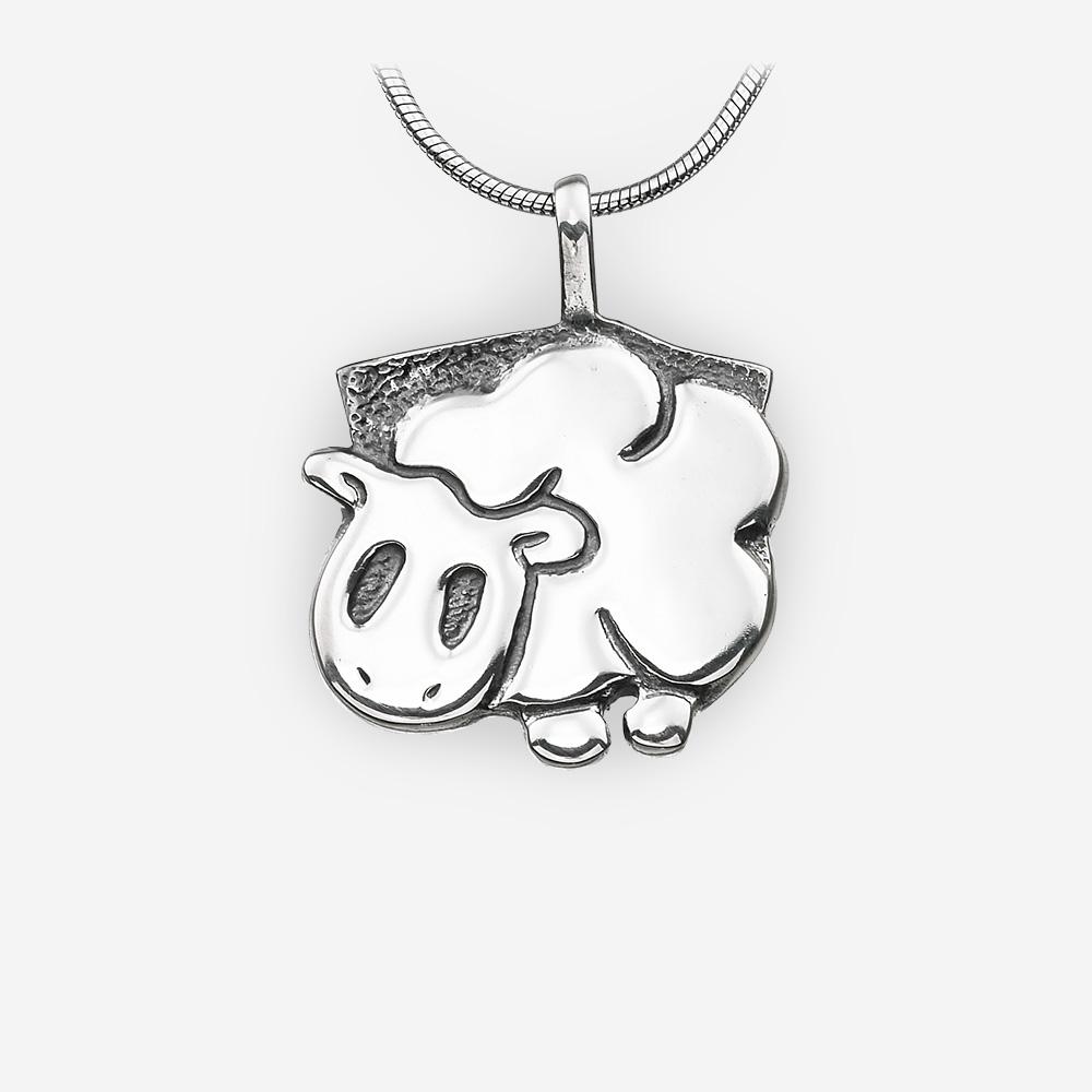 Pendiente del horóscopo Oriental de ovejas hecho a mano en plata fina .925.