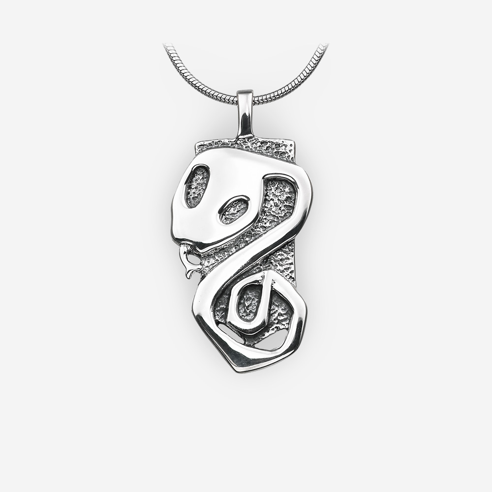 Oriental horoscope silver snake pendant crafted from 925 sterling silver.