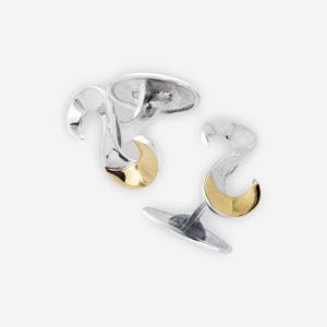 Mancuernillas hechas en Plata con medias lunas de oro