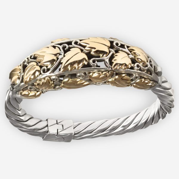 Ornate large 14k gold ivy silver cable bracelet crafted from 925 sterling silver with 14k gold ivy upper.