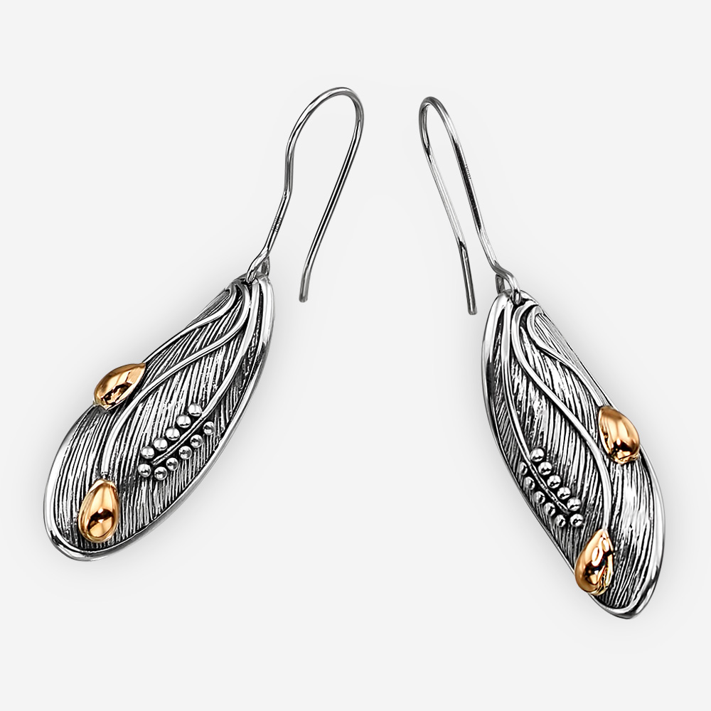 Oval Art Deco sterling silver earrings with 14k gold details and sterling silver earring hooks.