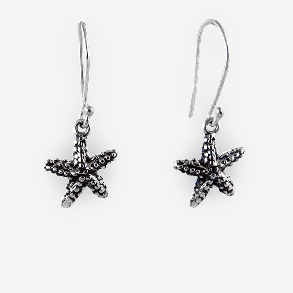 Oxidized silver starfish dangling earrings crafted from oxidized 925 sterling silver.