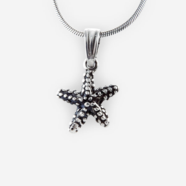 Oxidized silver starfish pendant crafted from 925 sterling silver.