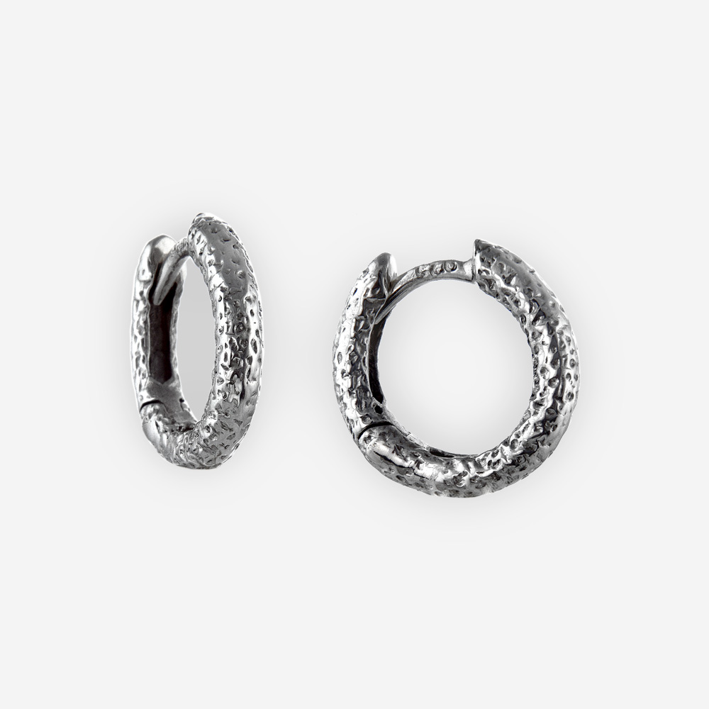 Oxidized speckled texture huggie hoop earrings crafted in 925 sterling silver.