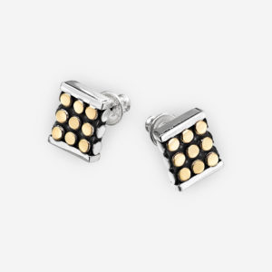 Oxidized square silver post earrings crafted from 925 sterling silver with 14k gold dots.