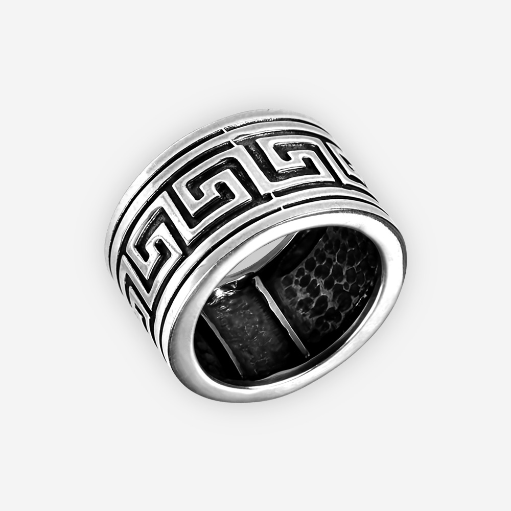 Oxidized sterling silver Byzantine ring crafted in 925 sterling silver.