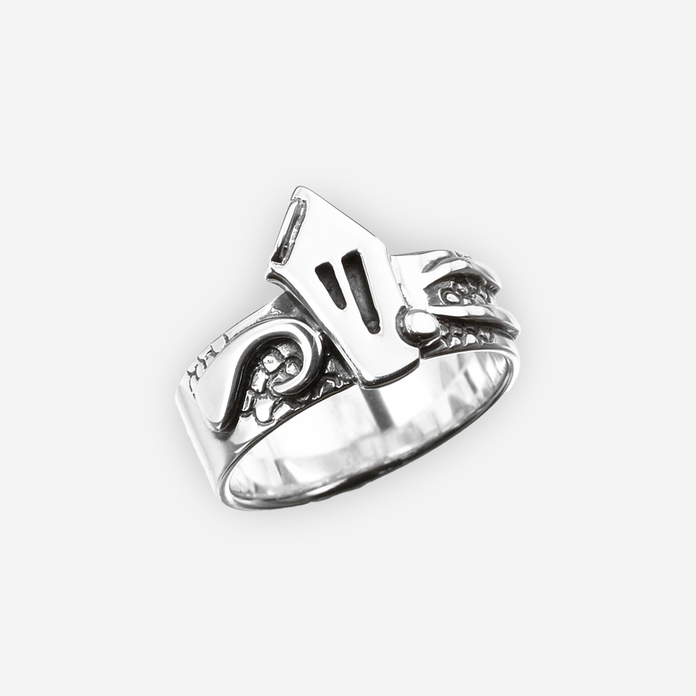 Oxidized sterling silver fairytale house ring with a sculpted fantasy house motif.