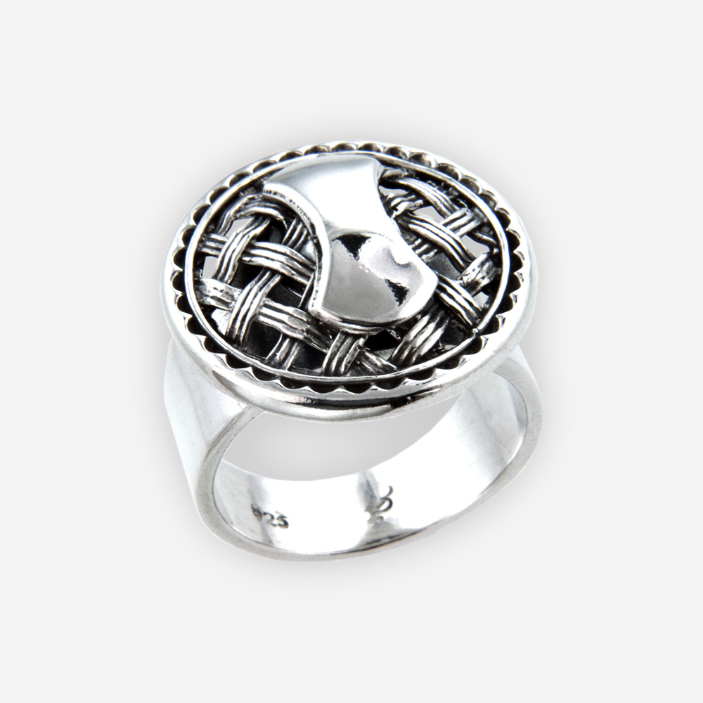 Sterling silver lattice ring is crafted completely from oxidized 925 sterling silver.