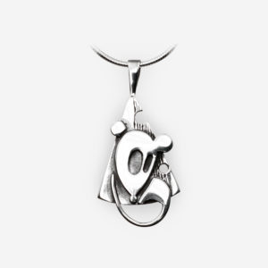 Oxidized sterling silver mouse pendant with a modern aesthetic.
