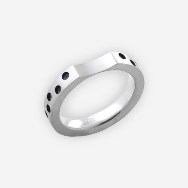 Modern sterling silver ring with oxidized dot detailing is crafted from 925 sterling silver.