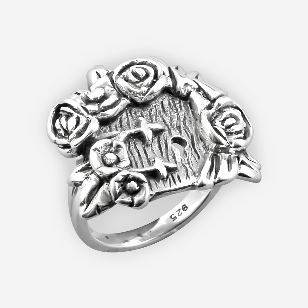 Oxidized sterling silver rose ring inspired by the fairy tale Alice in Wonderland.
