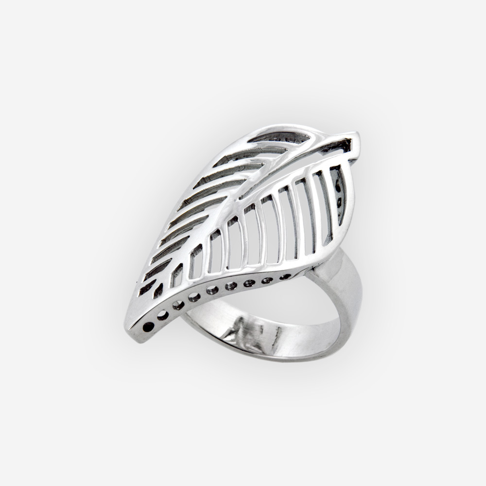 Plain sterling silver cutout leaf ring crafted in polished 925 sterling silver.