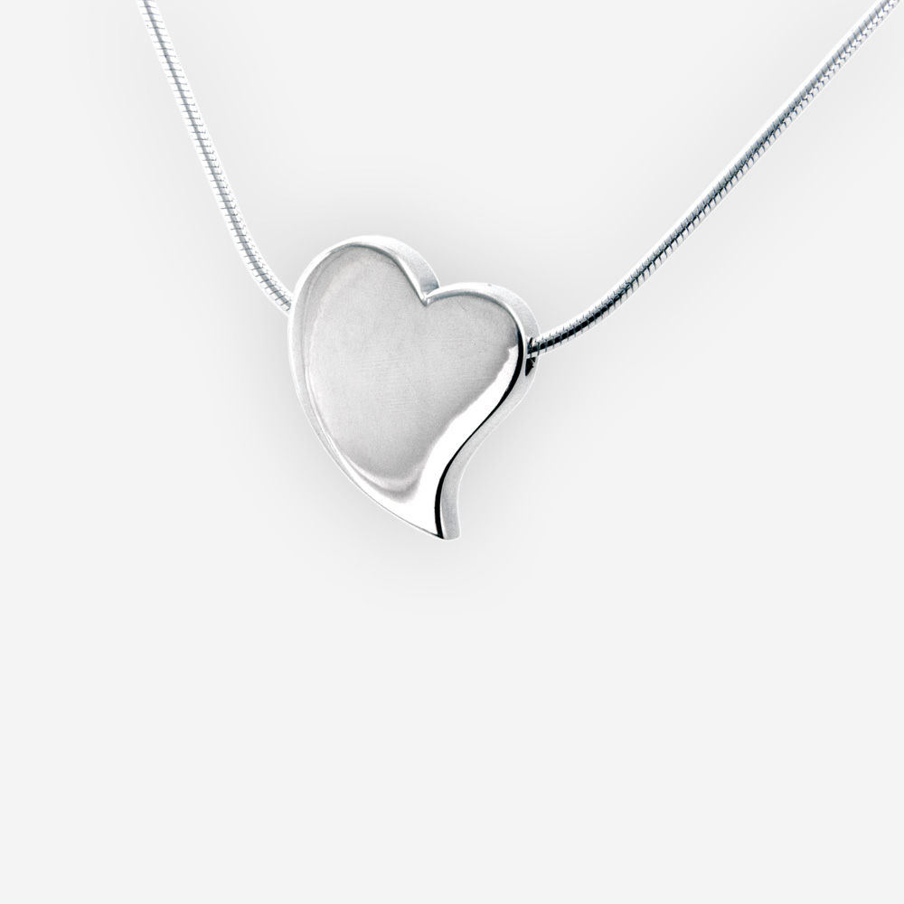 Plain polished sterling silver heart necklace is crafted from 925 sterling silver with a high polished finish.