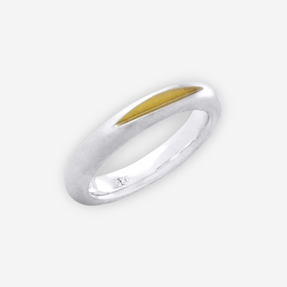 Plain unisex sterling silver matte band is crafted from 925 sterling silver.