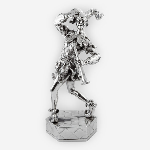 Playful jester silver sculpture is crafted with electroforming techniques and dipped in sterling silver.