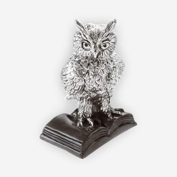 Owl over a book Silver sculpture is crafted with electroforming techniques and dipped in silver .999