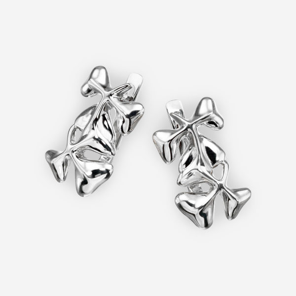 Polished silver shamrock earrings with lever back closures - 925 sterling silver.