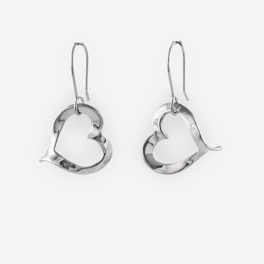 Polished sterling silver heart dangle earring crafted from 925 sterling silver.